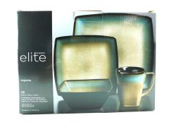 Gibson Elite Tequesta 16-Piece Square Dinnerware Set, Taupe