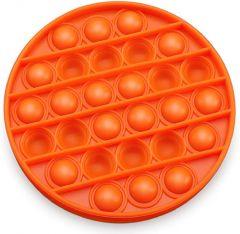 Silicone Bubble Popping Sensory Toy Multifunctional Anti Anxiety Orange Circle