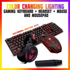 4-1 Gaming keyboard + Mouse + Headset + Mousepad RGB LED Colors Light PC Xbox PS4