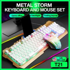Gaming Keyboard And Mouse Combo Mechanical Feel RGB Led Light Backlit Wired -USB