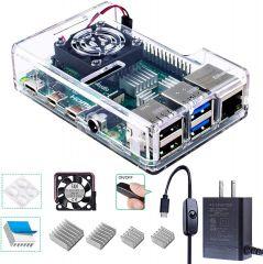 Smraza Raspberry Pi 4 Case, Raspberry Pi 4B Case with Fan Acrylic Case
