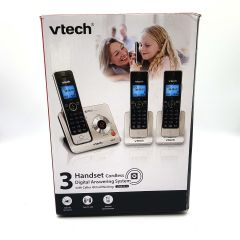 VTech DECT 6.0 Expandable Cordless Phone, Answering System, Silver + 3 Handsets