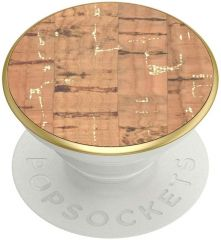 PopSockets: PopGrip with Swappable Top for Phones and Tablets - Metallic Cork Gold