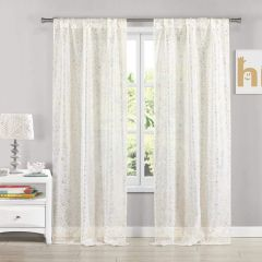 Lala+Bash Molly Metallic Rod Top Curtain 2 Panel Drape Set 37x84 White/Gold""