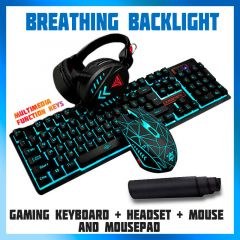 Super RGB Gaming Keyboard + Gaming Mouse + Headset + Mouse Pad Combo