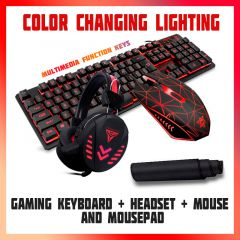 Complete gaming combo keyboard mousepad headset mouse with adjustable dpi button