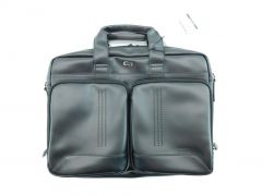 "Moore Briefcase Men's Black Wall Street Briefcase Moore for 15.6"" Laptop Leather"