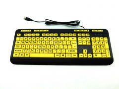 Adesso AKB-132UY, Luminous 4 X Large Print Multimedia USB Keyboard, Black Yellow