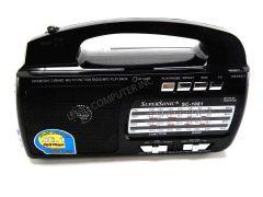 Supersonic AM FM Shortwave 1-2 Radio Torchlight USB SD Black