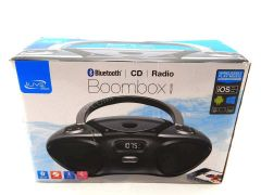 iLive Boombox Bluetooth Speaker with CD Player and FM Radio (Gray/Black)