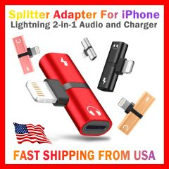 2in1 Lightning Adapter Audio and Charger Splitter for iPhone 7 8 X XR 11 and 12