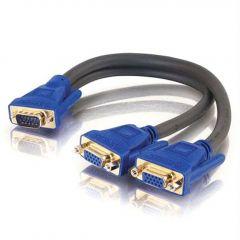 HD15 VGA Male to Two HD15 VGA Female SXGA Monitor Y-Cable, Black