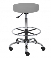 Boss Office Products Adjustable Upholstered Medical Stool W/ Foot Ring Grey