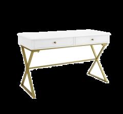 Linon Desk Modern design 54 × 25.5 × 13 in Harli Two-Drawer Campaign, White