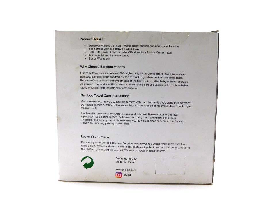 Organic Bamboo Hooded Baby Towel Bonus Glove Washcloth Gray Ebay